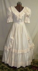 Vintage Laura Ashley Wedding Dress Southern Belle Ball Gown Cream