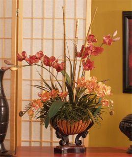 Large Artificial Red Silk Talisman Orchids Flower Arrangement w Bamboo