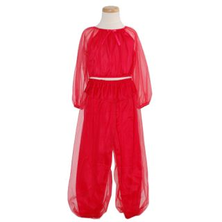 Laura Dare Little Girls Size 6X Sheer Red Genie Pajama 2 Piece Set