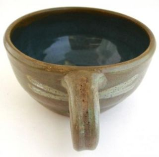 Large Soup Chili Mug Cup Bowl Blue Brown White Dragonfly Dragonflies