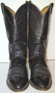 Vtg Tony Lama Mens Sz 9 5 EE Black Leather Cowboy Western Style 5984