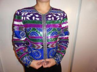 Laurence Kazar Sequins Beads 80s Silk Bolero Dress Coat Purple Blue M