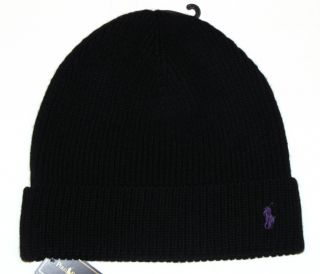 Polo Ralph Lauren Mens Knit Hat Skull Beanie Black 100 Merino Wool