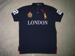 Ralph Lauren London England Big Pony Polo Shirt Custom Fit Mens Navy