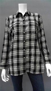 Lauren Ralph Lauren Petite PL Cotton Button Down Top Black Plaid Long