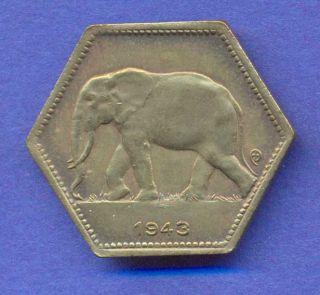 Belgian Congo 2 Francs 1943 KM25 I168