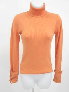 Laurie B Orange Ribbed Long Sleeve Turtleneck Sweater M
