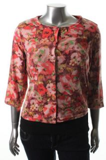 Le BOS New Pink Floral Print Elbow Sleeve Button Cardigan Sweater Top