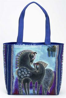 Laurel Burch Tote Bag Indigo Horses LG Shld New Retired