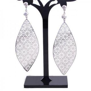Lady Flower Leaf White Gold Plt Dangle chandelier Earrings ,free gift