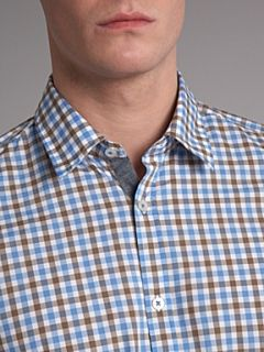 Hugo Boss Gingham trim long sleeved shirt Sky Blue