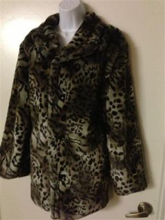 Size XL Reversable Long Jacket Animal Print Furry Black Soft Coat