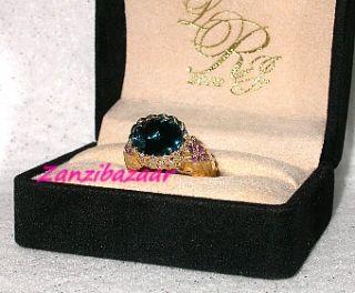 Laura Ramsey 14k Gold London Blue Topaz Amethyst Diamond Ring 11 05g