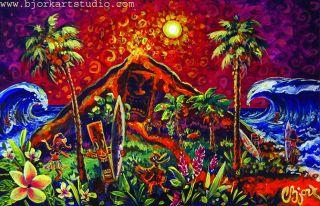 Original Painting Island Surfing Big Surf Lava Flow Polynesian