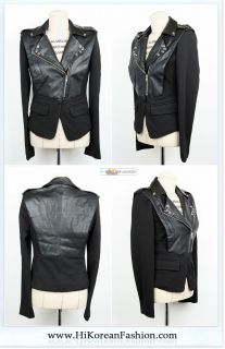 Motorcycle Womens faux Leather Jackets with Metal Stud