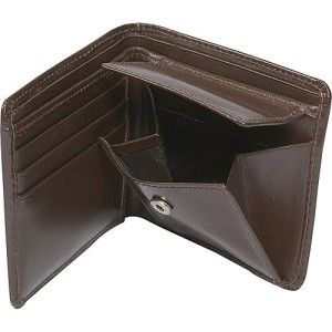 Leatherbay Double Fold Mens Leather Wallet w Pocket Dark Brown