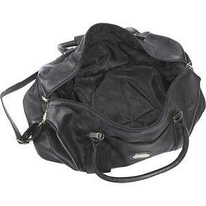 Leatherbay World Traveller Premium Cow Hide Leather Duffel Bag Black