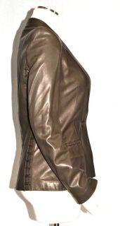 Yves Saint Laurent YSL Chocolate Brown Leather Button Blazer Coat