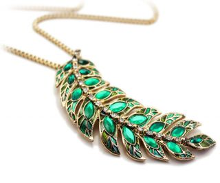 Peacock Green Rhinestone Leaf Pendant Chain Necklaces Womens Necklace