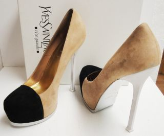 YSL Yves Saint Laurent Tribtoo 105 Suede Cap Platform Pumps Shoes 40 5
