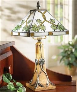 New Stained Glass Leaf Accent Lamp
