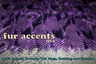 Plush Purple Bear Skin Area Rug Faux Fur Accent Pelt Fake Sheepskin