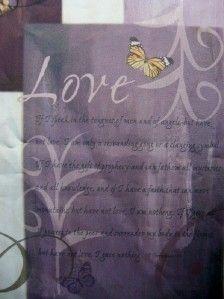 Fabric Shower Curtain Peace Joy Love Lavender Purple Brown Tan NEW