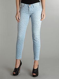 Current Elliott Skinny stiletto mid rise leopard pastel jean Light Blue