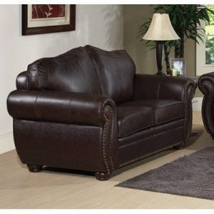 ELEGANT LEATHER LOVESEAT   PALAZZO by ABBYSON LIVING   BROWN   FACTORY
