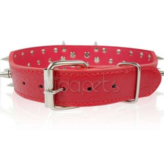 23 26 Red Leather Spiked Dog Collar Pitbull Bully Spikes Extra Large