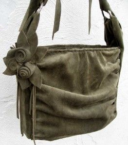 Green Suede Leather Ruched Hand Bag w Flower Pin Leather Lined