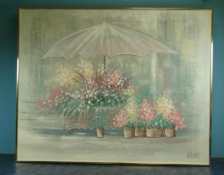 Lee Reynolds Original Painting Florist Flower Cart Art
