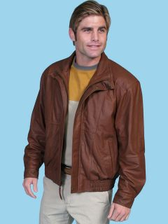 Scully Mens 48 Mens Cognac Lamb Leather Bomber Jacket