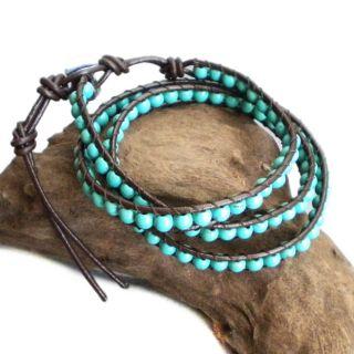 Blue Muse Turquoise Gemstone Tribal Wrap Leather Bracelet