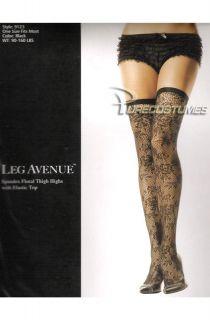 Leg Avenue Floral Net Thigh High Stockings Elastic Top