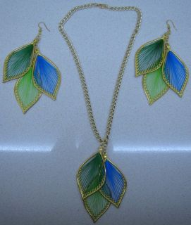 Green Leaf Necklace & Earrings Set Feather Fashion Jewelry Gorgeous