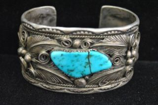 Vintage Navajo M Thomas Sterling Silver Turquoise Cuff Bracelet Old