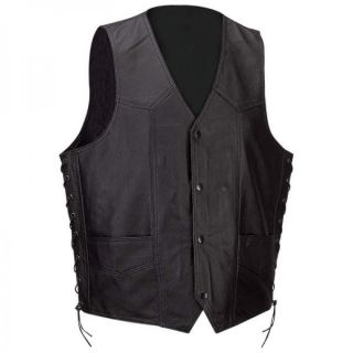 Mens Solid Black Leather Motorcycle Biker Vest XXL 2X