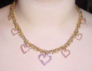 Vasari Valentines Pink Heart Neck Earring Set with Swarovski Crystals