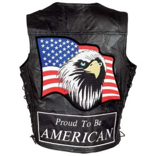 Leather Motorcycle Biker Vest Eagle Flag Patch Medium