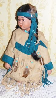 18 tall porcelain Native American Indian girl doll Sage in