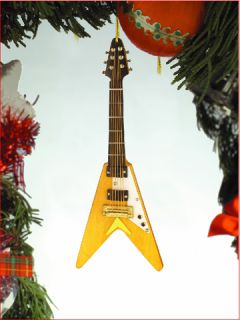 Cool Miniature Flying V Electric Guitar Christmas Tree Ornament New
