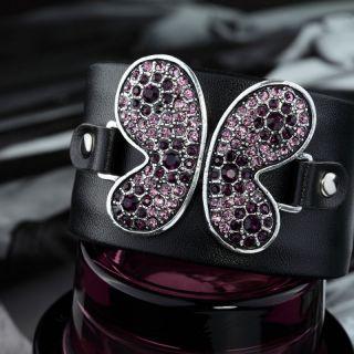 Bendable Black Leather Rhinestone Butterfly Cuff Bracelet Violet