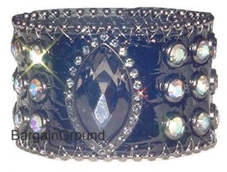Tiger Cat Eye Rhinestone Black Croco Leather Cuff Bracelet
