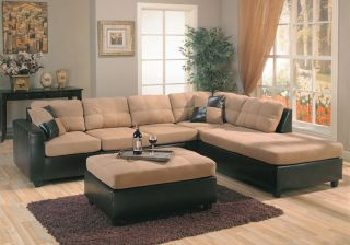 Tan Microfiber Brown Leather Right Sectional Sofa Set