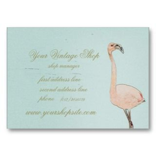 pink flamingo art vintage shop template business cards