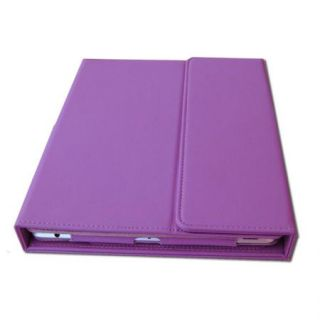 Bluetooth Wireless Keyboard Purple Leather Cover Case for Apple New