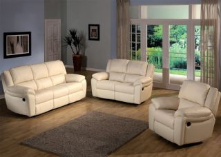 Casual Ivory Brown Real Leather Sofa Loveseat Recliners 2 PC Living