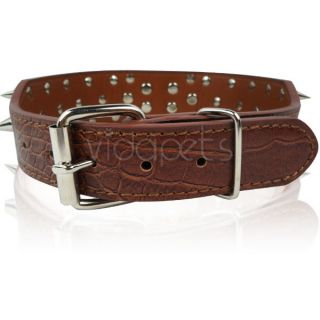 18 22 Black Leather Spiked Dog Collar Pitbull Bully Boxer Spikes