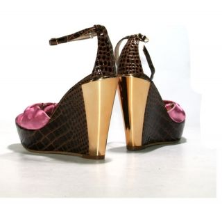 Sexy Pumps Sandals Platforms Heels Gold Croc Brown Bow Pink Made in